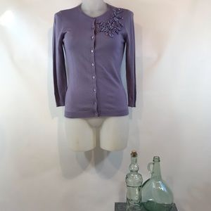 NWT HALOGEN Lavender Cardie with Beads